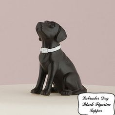 $15-$25  Labrador Dog Black  to go with your Bride and Groom Wedding Cake Topper- Animal Porcelain Hand Painted Figurines Decorations-D718