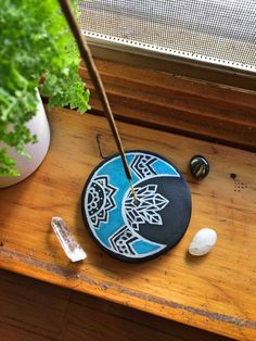 Handmade Painted Clay Incense Holder  Moon  by andigniteBoutique