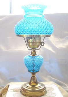 "Vintage 60s""Fenton""Glass""VY Scarce""Blue Opalescent""Hobnail""3 Way Lamp""XLNT | eBay"