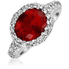 Bling Jewelry Bling Jewelry Vintage Style Crown Cz Ruby Color... ($26) ❤ liked on Polyvore featuring jewelry, rings, red, cz rings, fake engagement rings, engagement rings, ruby ring and red ruby ring