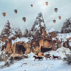 An amazing winter scene with hot air balloons, and beautiful horses. #Cappadocia has it all in every season // Photo by Burak Yıldırım  (@byburax)