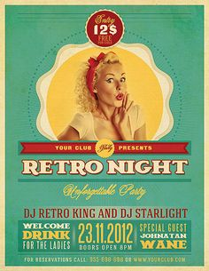 Retro Party Flyer Template by Peter Olexa, via Behance