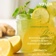 Quench your trust with Lemon & also have glowing skin! ‪#‎lemondrink‬ ‪#‎skincare‬ ‪#‎skinhealthtip‬ ‪#‎lemon ‪#‎VyedaHerbals‬ ‪#‎LoveyourskinLoveHerbals‬