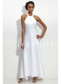 $259.99 Classic Satin Floor-length Halter Pleats #Sheath/Column #Wedding #Dress