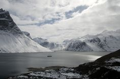 Arctic expedition cruise ship s/v Rembrandt van Rijn in Eternity Fjord, West Greenland  Photo by Kari Medig