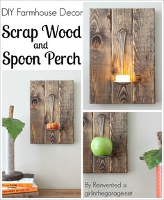 DIY Farmhouse Decor - Scrap Wood and Spoon Perch - by Reinvented @ girlinthegarage.net