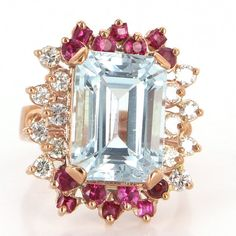 Vintage 14 Karat Rose Gold Blue Topaz Ruby Diamond Large Cocktail Ring Estate Jewelry