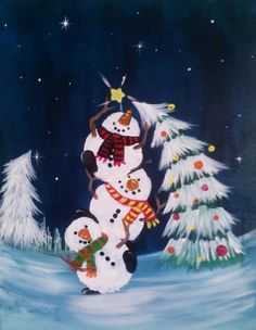 christmas art 40 Beautiful Christmas Painting Ideas to Try This Season - Bored Art Christmas Paintings On Canvas, Christmas Canvas, Christmas Projects, Christmas Ornament, Christmas Ideas, Canvas Paintings, Christmas Window Paint, Christmas Tree, Christmas Wallpaper