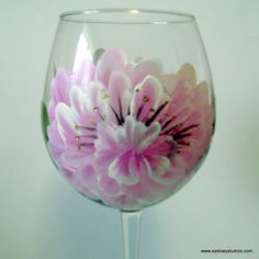 Hand Painted Peony Red Wine Glass with Swarovski Crystals | LynetteSadowyStudios - Housewares on ArtFire