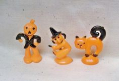 Miniature Witch  Cat & Scarecrow Cake Toppers  1950s by rosenu2