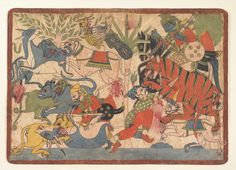 """Royal Hunt,"" folio from a Mahabharata  Date:1800–1850 Culture:Western India, Maharashtra, Paithan or northern Karnataka Medium:Ink and opaque watercolor on paper Dimensions:12 1/4 x 17 1/8 in. (31.1 x 43.5 cm)"