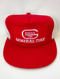 d7a58816530 General Tire Mesh Trucker Hat 1980s Retro Vintage Snapback Cap Red White