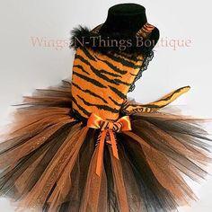 ORANGE TIGER CAT Costume Tutu Dress 3pc Set w/ Kitty Ear Headband ...