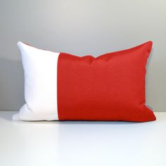 Red and White Color Block Pillow Cover sewn in Sunbrella indoor outdoor fabric.  #Mazizmuse