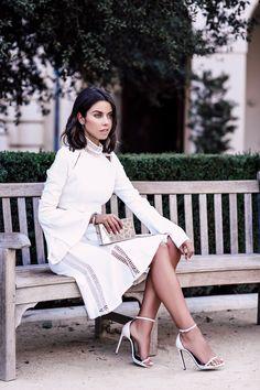 All white look - Jonathan Simkhai trumpet sleeve dress + white Saint Laurent sandals
