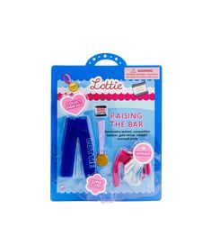 Raising the Bar Lottie Doll gymnastics outfit comes with a set of training tracksuit pants, a gymnastics leotard, a competition number, and a gold winner's medal. Gymnastics Set, Gymnastics Competition, Gymnastics Outfits, Gymnastics Leotards, Tracksuit Pants, Little Girl Gifts, Bar Accessories, Toys For Girls