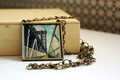Manhattan Bridge Photo Pendant Long Necklace NYC Photo by thebqe on etsy