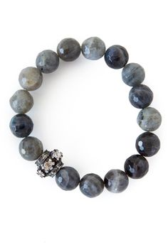 The Woods Labradorite Bead Bracelet with Diamond Studded Bead at ShopGoldyn.com