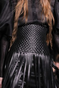 Weave & Fringe - woven leather cinch waist belt with fringing; fashion details // Giles
