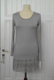 Blouse with lace, GREY