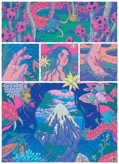 From the massive to the microscopic, Bang Sangho illustrates the cosmic primordial soup Illustrations, Illustration Art, Psychadelic Art, Comic Manga, Psy Art, Hippie Art, Kawaii, Art Plastique, Art Sketchbook
