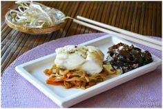 Bacalao con Verduras en Salsa de Soja y Espaguetis de Mar