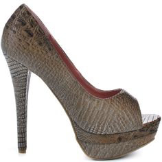 Step onto the fashion scene in these aesthetic peep toes from Michael Antonio.  Mariette has a brown faux crocodile print upper with a 5 inch heel and 1 inch stacked platform.
