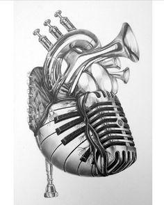 27 Cool Music Tattoo Designs and Ideas Band Tattoos, Music Tattoos, Cool Tattoos, Tatoos, Music Heart Tattoo, Heart Tattoos, Tattoos For Music Lovers, Faith Tattoos, Rib Tattoos