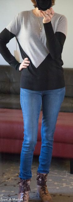 41 Hawthorn Presley Colorblock Button-Back Sweater | Stitch Fix Review | November 2016 | TypeAMamas.com