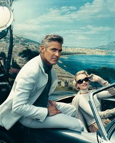 George Clooney and Gemma Ward in a 1959 Austin-Healey - photo: Norman Jean Roy