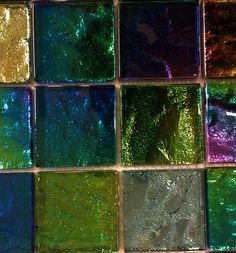This eye-catching Iridescent Mardi Gras Squares Tiles makes a great backsplash to add color to your kitchen or any decorated room. The multicolored squares create a stained glass finish. Mosaic Diy, Mosaic Glass, Stained Glass, Iridescent Tile, Rose Gold Kitchen, Pool Colors, Porch Wall, Stucco Walls, Terrazzo