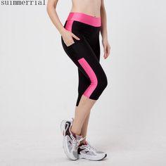 709805bf7e062 Sexy Side Pocket Striped Leggings Fitness Capri Pants Reflective Leggings  Slim Workout Quick-dry