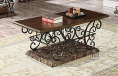 A faux marble finish lends a chic touch to the Coaster Furniture Modern Wood Top Coffee Table . Its contemporary design will bring a modern aesthetic. Modern Furniture, Home Furniture, Wooden Table Top, Cool Coffee Tables, Coaster Furniture, Wood And Metal, End Tables, Coasters, Traditional