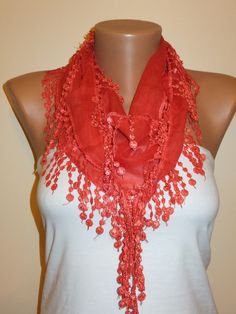 A personal favorite from my Etsy shop https://www.etsy.com/listing/179626143/amaranth-scarfred-scarf-lace-scarfwomens