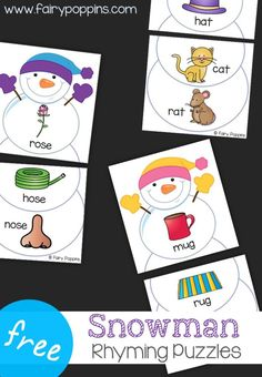 These free snowman rhyming puzzles help kids to identify words that rhyme. They are great for kids in preschool and kindergarten. Kindergarten Centers, Kindergarten Reading, Literacy Centers, Rhyming Kindergarten, Preschool Learning, Literacy Games, Literacy Stations, Preschool Ideas, Rhyming Activities