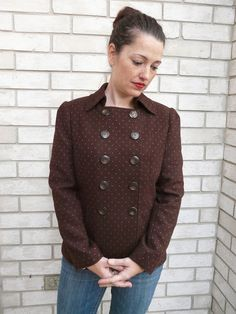 Amanda's Adventures in Sewing: Brown + Hot Pink Double-Breasted Jacket - Vogue 1467