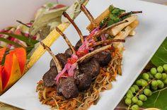 Taso Kabrit,Manyok Fri ak Salad Militon Karot ak Pwa Tan. Rack of Goat w/ Fried Yuca & Sauteed Vegetable (Chayote Squash, Carrot, & Green Beans). A Haitian meal