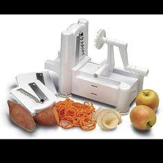 Spiral veggie slicer best one and best price is at: http://www.coolshinystuff.com/paderno/world_cuisine_slicer.asp