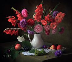 With gladioli and asters - null