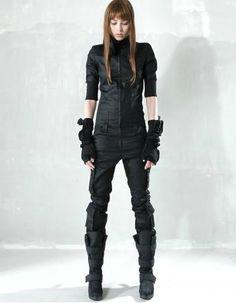 Dark Fashion, Future Urban Style, Demobaza, boots, arm warmers, jumpsuit, black
