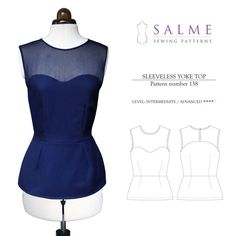 Sleeveless Yoke Top Sewing Pattern - SALME I could use this as the pattern for the top half, and combine it with a skirt pattern or the bottom half of a dress pattern for a complete dress! Yes we can Elaine!