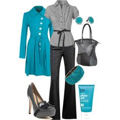 LOOK - charcoal gray pants (these DVF), gray ss blouse, turquoise trench coast (dorothyperkins), gray pumps, gray patchwork tote, turq rhinestone bangle or other turq inspired jewelry