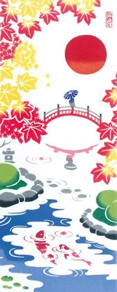 【手ぬぐい(てぬぐい)・日本手拭い】[気音間]日本庭園【庭・紅葉】手ぬぐい専門店「わざっか本舗」