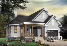 Discover the plan 3219 - Yorkton 3 from the Drummond House Plans house collection. Small Transitional house design with garage, double sided fireplace, open floor concept, unfinished basement. Basement House Plans, Bungalow House Plans, Dream House Plans, Small House Plans, Open Floor Concept, Drummond House Plans, Double Sided Fireplace, Transitional House, Dream House Exterior