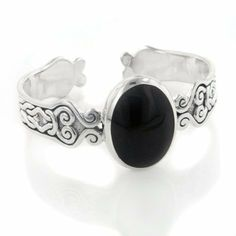 "Medieval Celtic Knot and Black Onyx Scrollwork Sturdy 54gr Cuff Bracelet Silver Insanity. $325.00. Weight is About 54.5 Grams. 1&1/8"" Wide Across the Stone. Marked 925. Fits up to a 8"" Wrist (7"" Unadjusted). Nickel Free Silver"