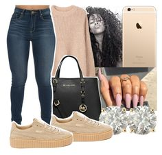A fashion look from November 2016 featuring MANGO sweaters, Puma sneakers and MICHAEL Michael Kors tote bags. Browse and shop related looks. Chill Outfits, Hot Outfits, Casual Outfits, Fashion Outfits, Womens Fashion, Creepers Outfit, Black Girl Swag, Fashion Killa, Dope Fashion