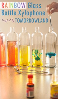 "Make a DIY Rainbow Glass Bottle Xylophone! A simple and colorful learning activity to inspire your little dreamer to become a musician! Craft inspiration from Disney""s Tomorrowland film."