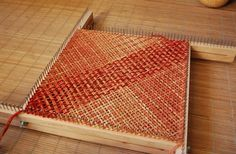 earth flecked tones in adjustable pin loom square