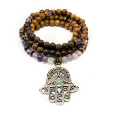 Hamsa Hand Mala Bead Necklace