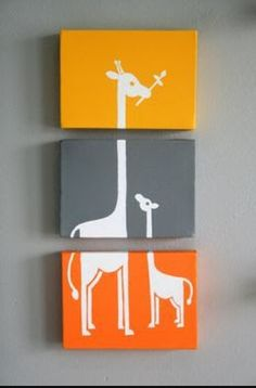 Giraffe 3 peice canvas